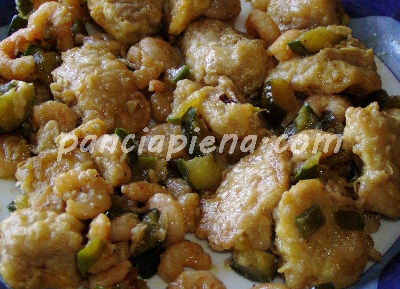 Lonza con gamberetti e cetrioli